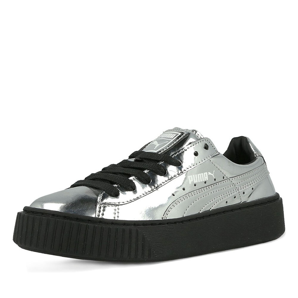 Puma basket platform sneaker zilver